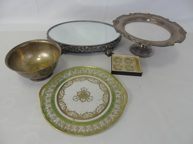Assorted Silver Plate Serving Items & Plateau