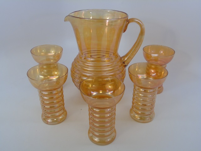 Antique Art Glass Orange Pitcher & Tumbler Set