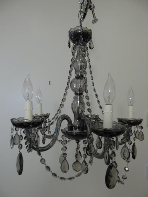 Contemporary Smoked Crystal Five Arm Chandelier