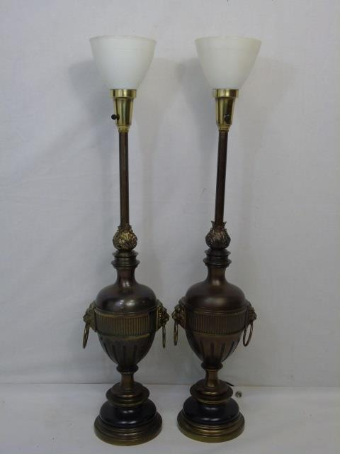 Pair Mid Century Modern Urn Form Table Lamps
