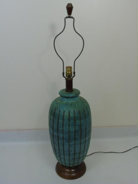 Vintage Art Pottery Vase Mount Table Lamp