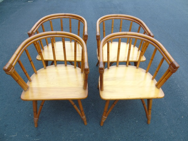 Four Curved Back Mid Century Modern Dining Chairs