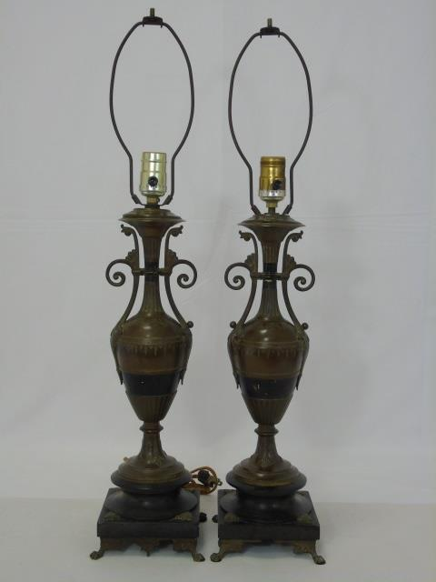 Pair Neo Classical Urn Form Table Lamps