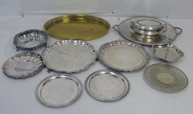 Assorted Silver Plate & Metal Serving Items