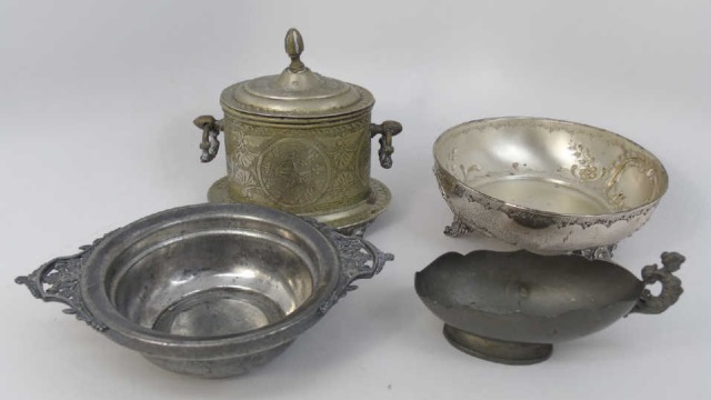 Group Antique Silver Plate Serving Items & Caddy
