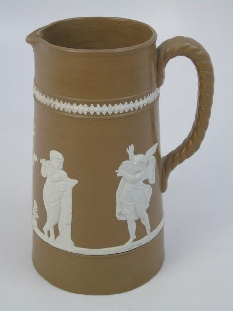 Antique 19th C Jasperware English Pitcher