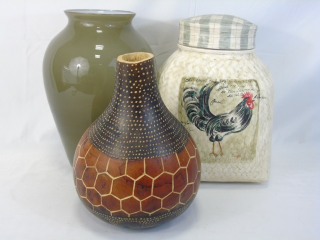 Group of Three Decorative Vases & Lidded Jar