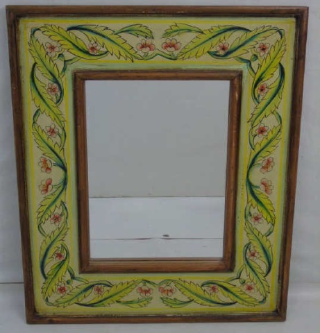 Contemporary Painted Flower & Leaf Motif Mirror