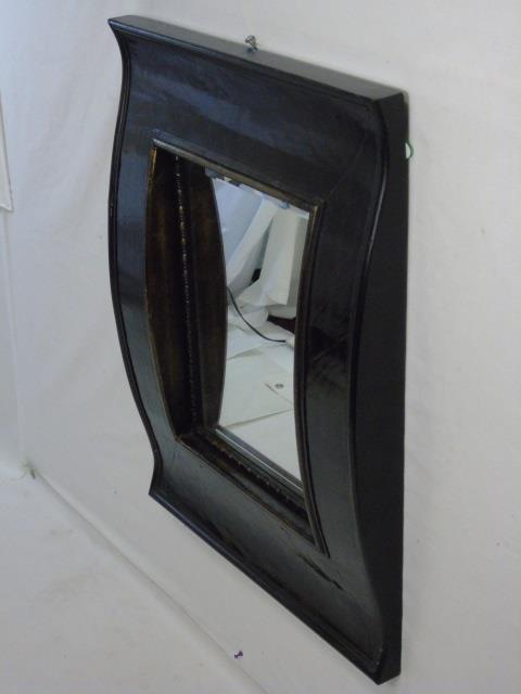 Contemporary Mahogany Tone Curved Frame Mirror