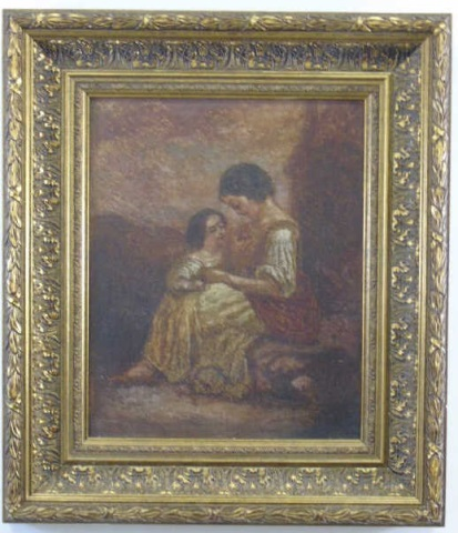 Antique Painting - Mother & Daughter w/ Bird