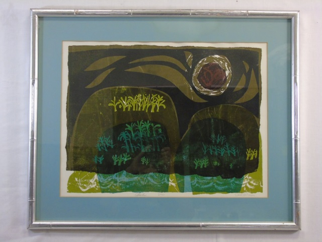 Signed & Framed Mid Century Abstract Print