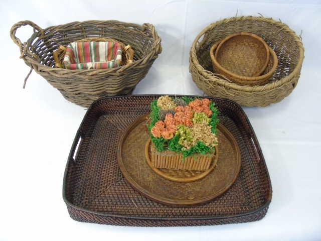 Collection of Vintage Woven Baskets & Tray
