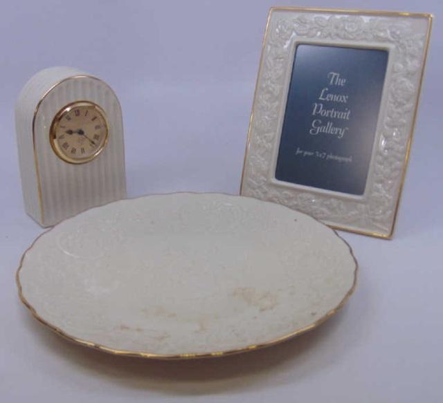 3 Vintage Lenox Porcelain Clock / Plate / Frame