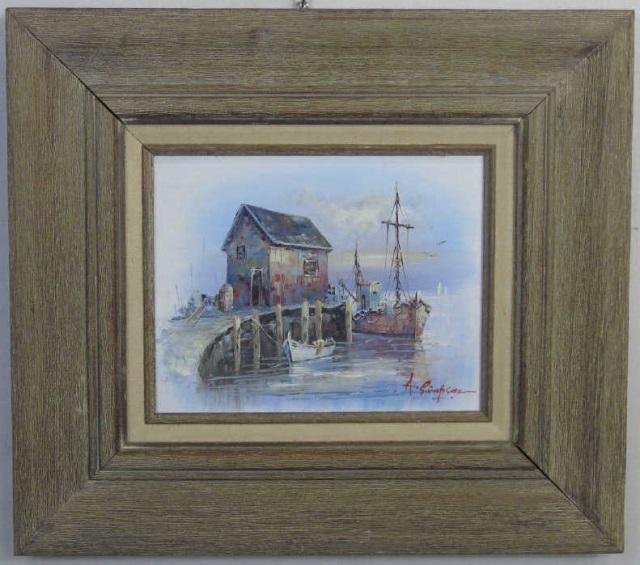 A. Simpson - Mid Century Harbor Scene Painting