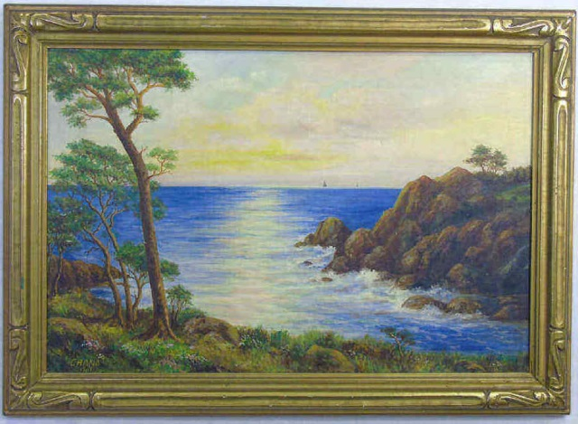 Chana - Framed & Signed Ocean View Painting