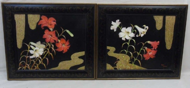 Ken Bama - Pair of Framed Paintings of Lilies
