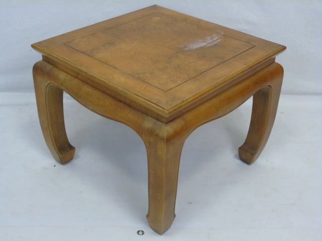 Vintage Asian Burl Wood Carved End Table