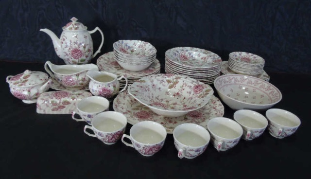 Large Service Johnson Bros. Rose Chintz Porcelain
