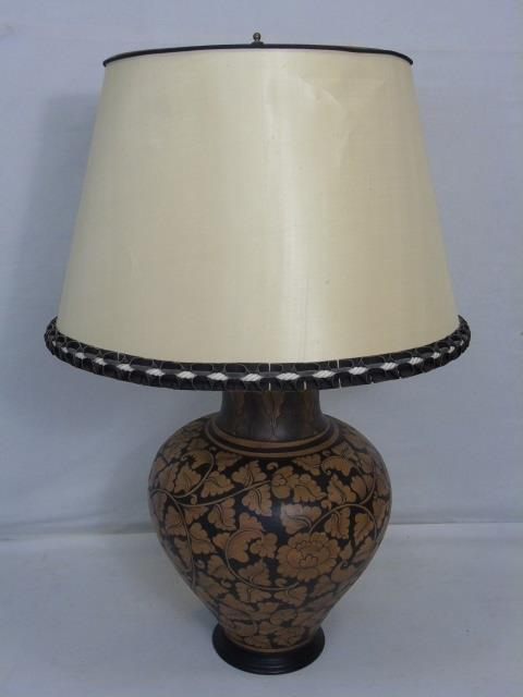 Large Contemporary Hand Painted Art Pottery Lamp