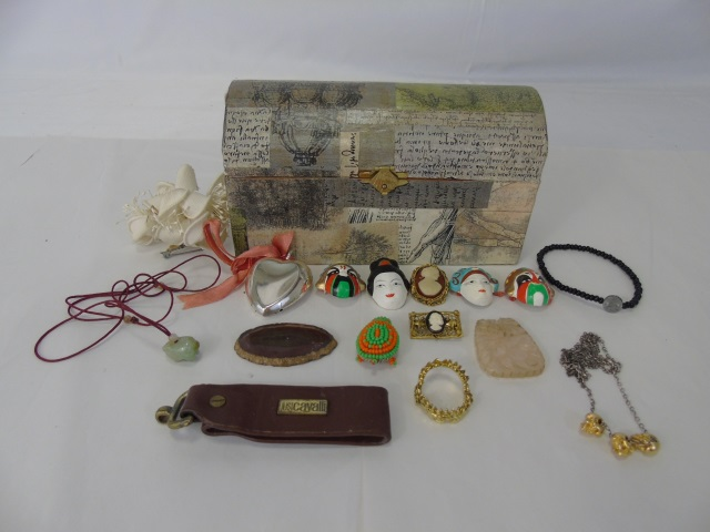 Box Lot Assorted Costume Jewelry & Treasure Chest