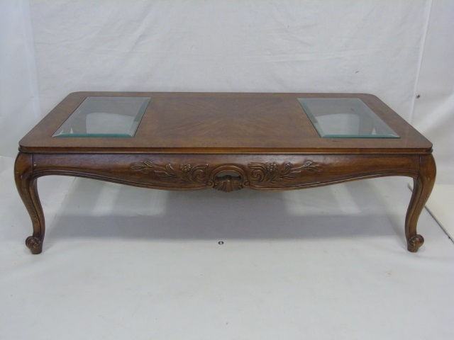 Contemporary Carved Wood & Glass Coffee Table