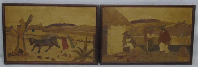 Pair Antique Hand Made Marquetry Inlay Plaques