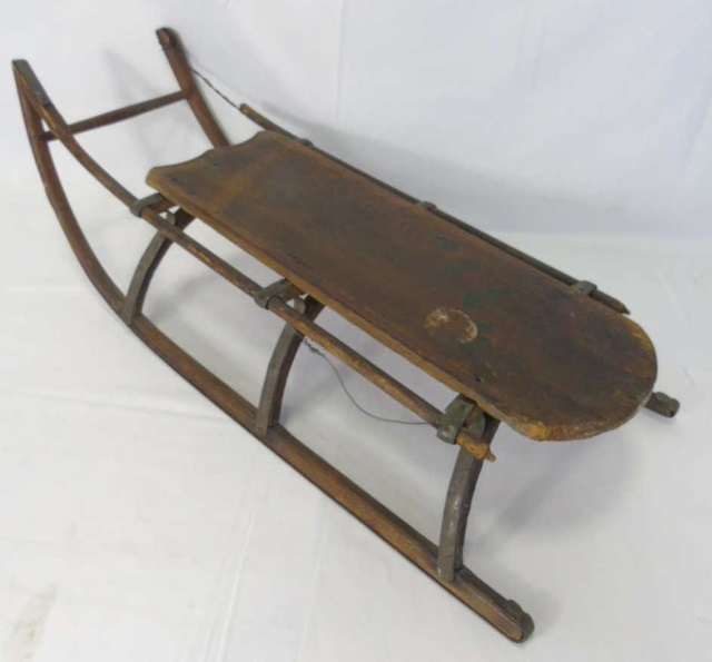 Antique American Wood & Metal Children's Sled