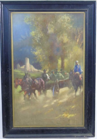 Antique Pastel Drawing of a Horse Drawn Carriage