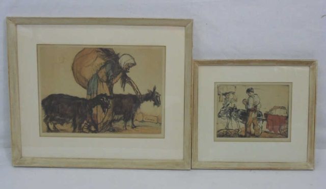 Antique Framed Prints of Peasants Armand Coussens