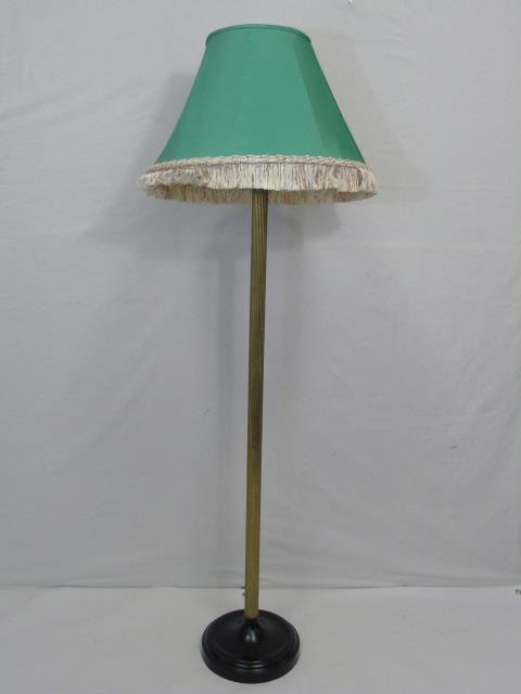 Contemporary Bronze Tone Lamp w/ Silk Shade