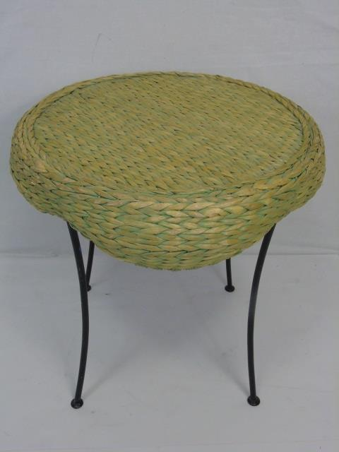 Woven Rush Top Metal Frame End Table