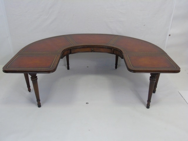 Antique Leather Top U Shape Coffee Table