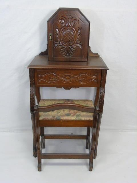 Antique Carved Wood Telephone / Secretary Desk