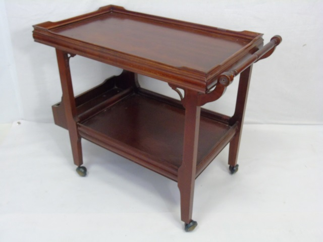 Antique Mahogany Tone Tea Cart Serving Trolley