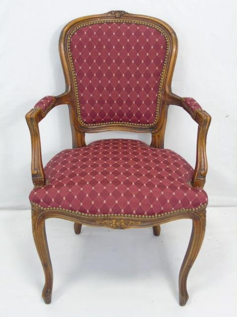Carved French Style Occasional Armchair
