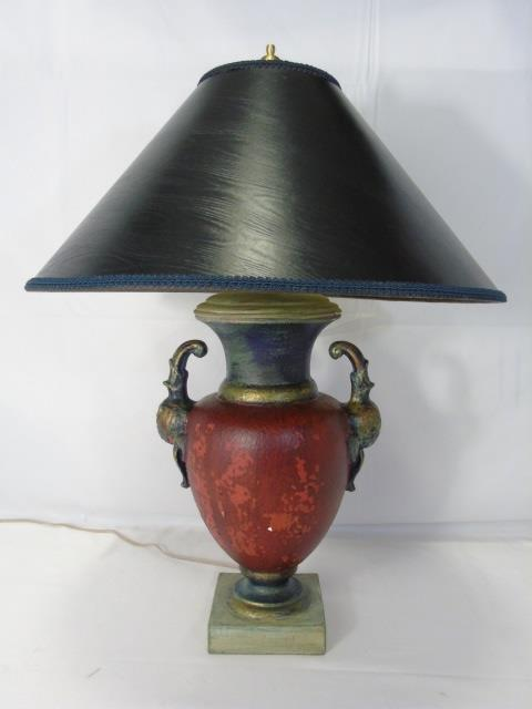 Contemporary Urn Form Wood & Resin Lamp