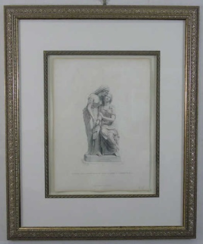 Framed 19th C Engraving of the Sisters of Bethany