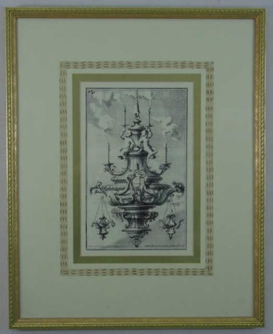 Framed Design Print of a Chandelier w/ Putti