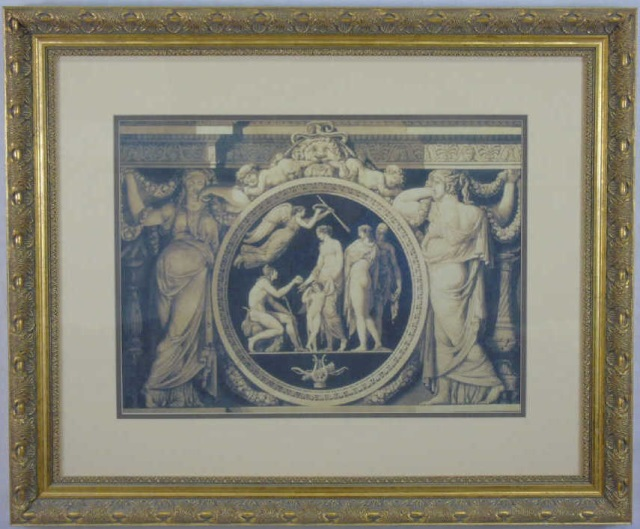 Framed Italian Baroque Style Architectural Print
