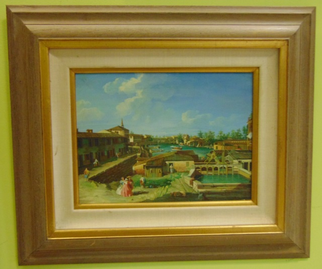 Framed Harbor Scene Painting in Period Dress