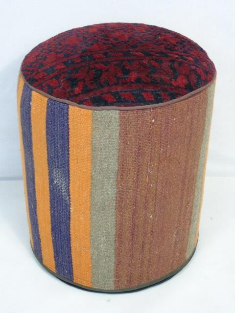 Contemporary Woven Wool Oriental Ottoman Stool