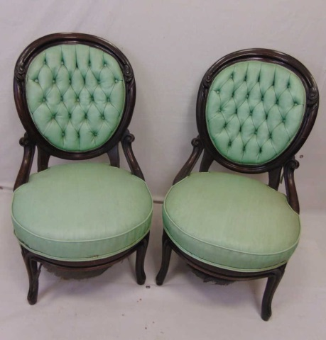 Antique 19th C American Victorian Slipper Chairs