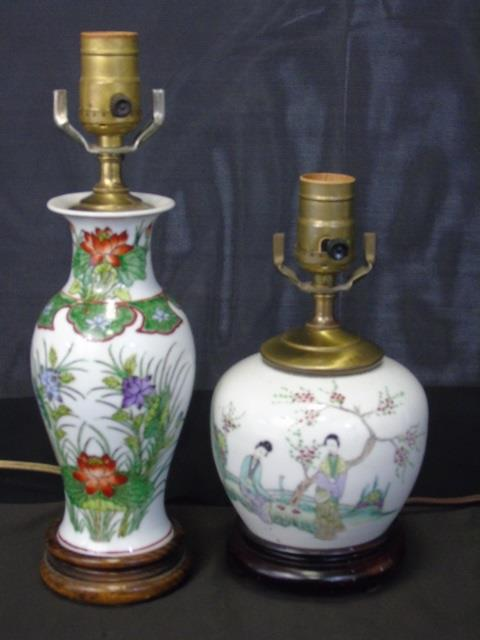 Two Chinese Porcelain Vase Mount Table Lamps