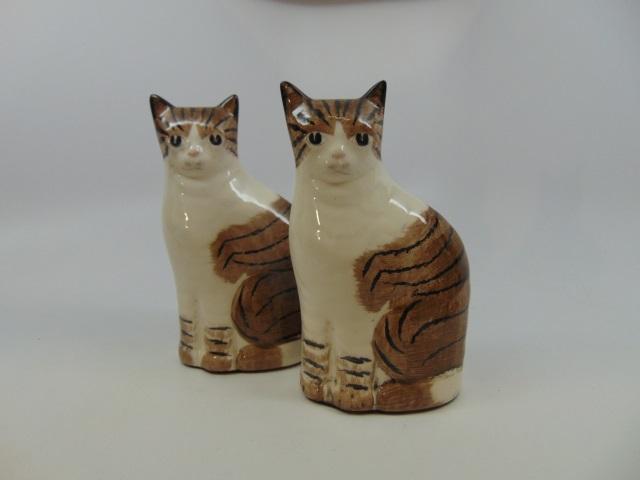 Vintage Porcelain Cat Statues Staffordshire Style