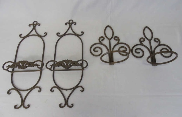 Set of Four Wrought Iron Plate & Pot Stands