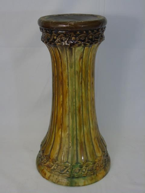 Antique Majolica Glazed Pottery Plant Pedestal