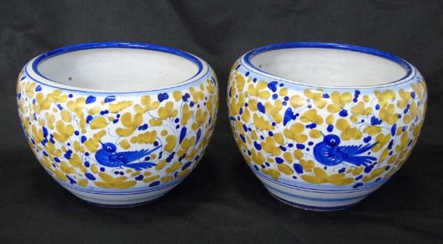 Pair Italian Pottery S Barry Signed Pottery Pots