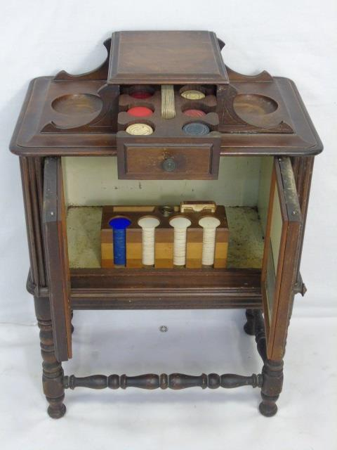 Vintage Carved Wood Games Pieces Cabinet