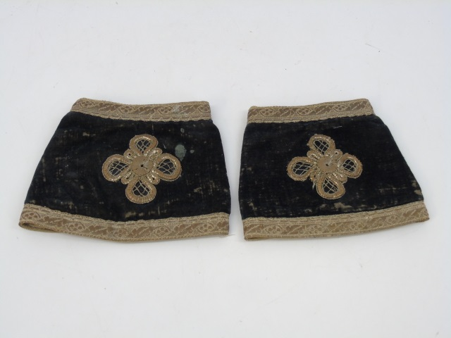Pair Antique 19th C Embossed Velvet Shirt Cuffs