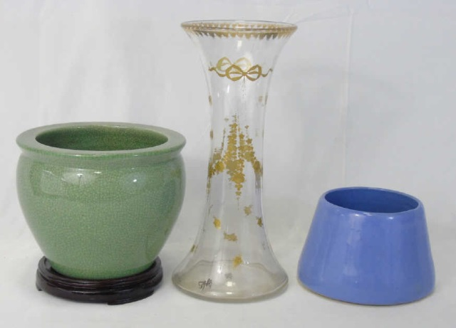 Table Articles - Glass Vase Chinese Pot & Dog Bowl